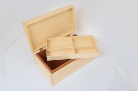Jewellery box, rippled sycamore with English pear, made by Paul Chilton